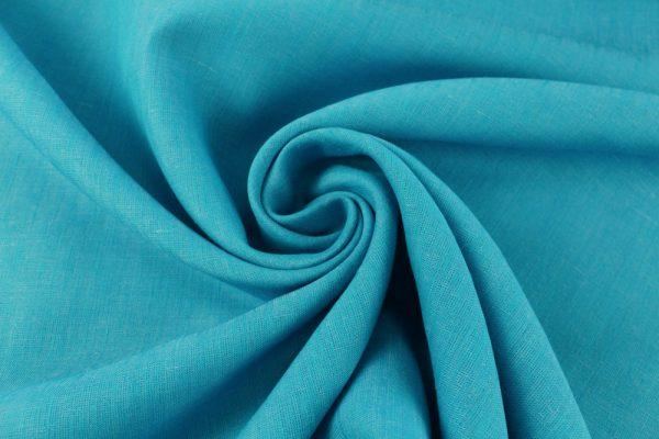 Фото 3 - Ткань льняная, ширина 260 см, лён 100 % бирюзовая меланжевая.