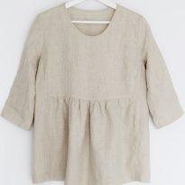 Фото 3 - Блуза льняная cо сборкой рукав ¾.
