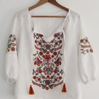 "Фото 22 - Блузка льняная с рисунком ""Вышивка""."