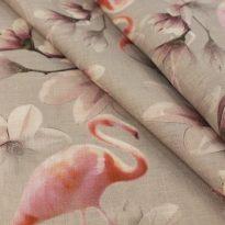 "Фото 4 - Ткань костюмная льняная ""Фламинго""."