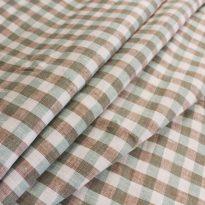 Фото 5 - Ткань льняная умягченная в клетку ( мята / коричневый)  лен 100%.