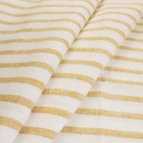 Фото 21 - Ткань льняная умягченная в темно-желтую полоску  лен 100%.