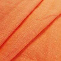 Фото 10 - Ткань льняная умягченная оранжевая, лен 100%.